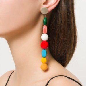 NWOT Handmade Long Resin Stone Earrings